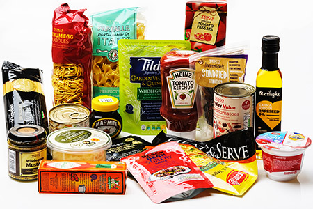 G1PG0W Arrangement of various types of food packaging.